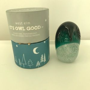West Elm Glass Owl Paperweight EUC
